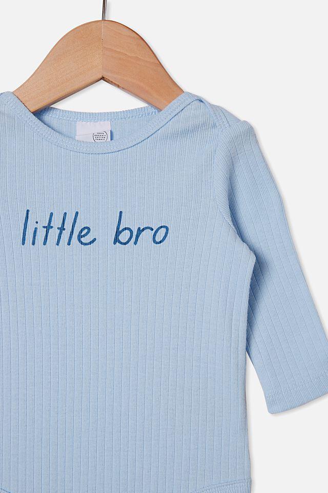 Organic Newborn Long Sleeve Bubbysuit, WHITE WATER BLUE/LITTLE BRO
