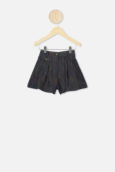 Poppy Pleated Short, PHANTOM/RAINBOW SPARKLE