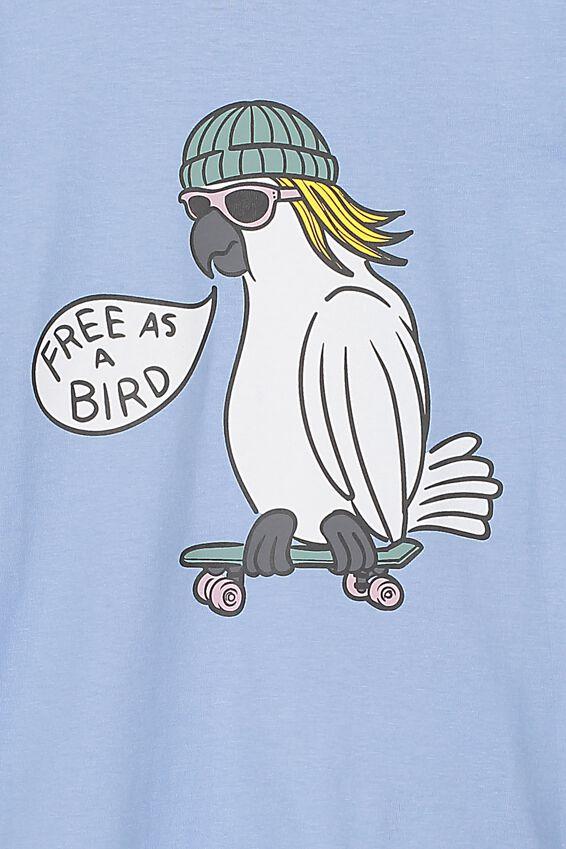 Max Short Sleeve Tee, POWDER PUFF BLUE/FREE AS A BIRD