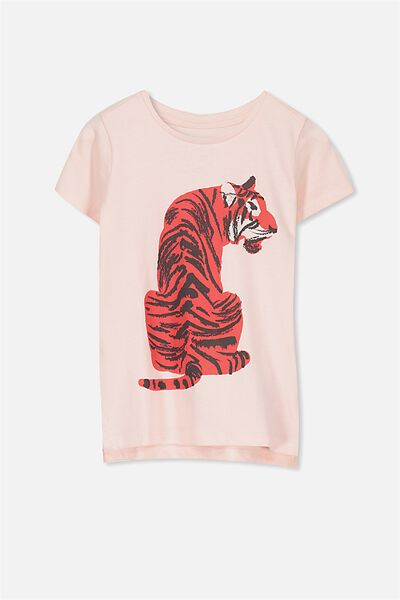 Penelope Short Sleeve Tee, SHELL PEACH/TIGER