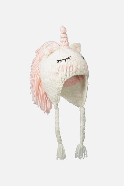 Luxe Character Beanie, PINK UNICORN