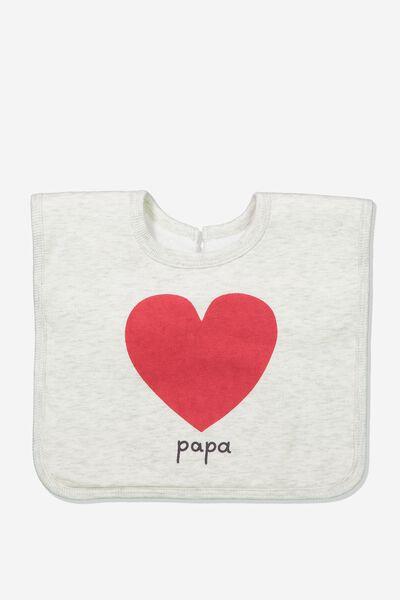 The Everyday Bib, GREY MARLE/PAPA LOVE