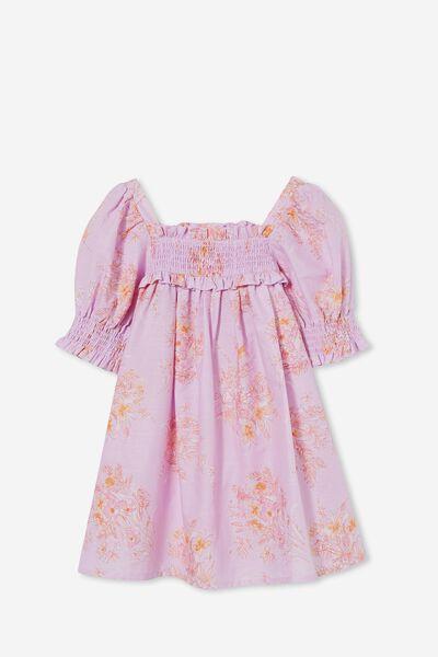 Lana Short Sleeve Dress, PALE VIOLET SALT LAKE FLORAL