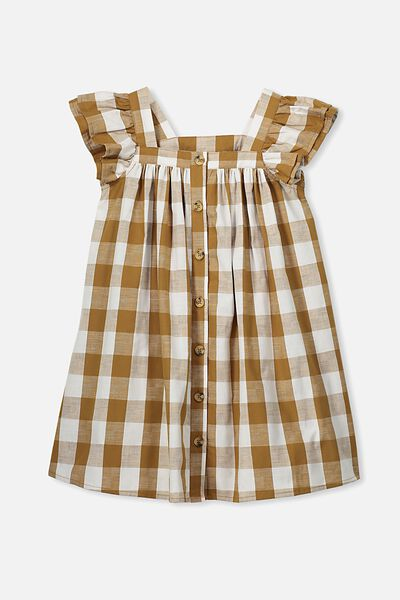 Polly Placket Dress, GOLDEN BROWN GINGHAM