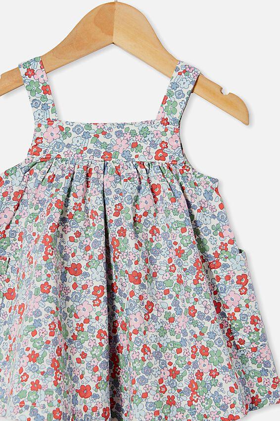 Penny Pinafore Dress, VANILLA/CALI PINK GARDEN FLORAL