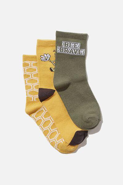 Kids 3Pk Crew Socks, BEE BRAVE