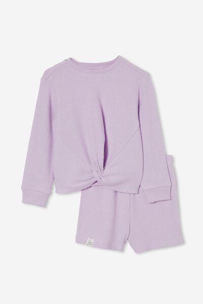 Abbie Knotted Front Long Sleeve Pyjama Set, PALE VIOLET MARLE