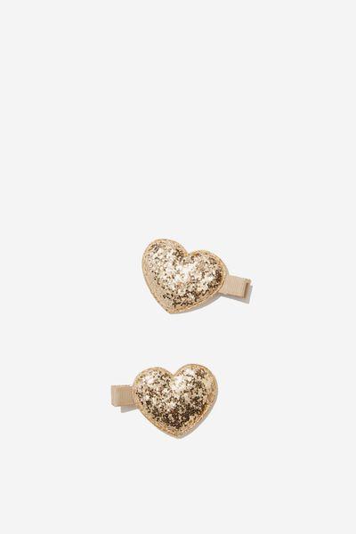 Hair Clips, HEART/GOLDY GLITTER