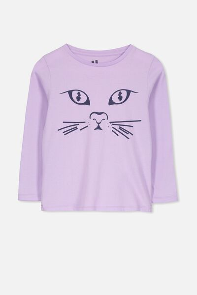 Penelope Long Sleeve Tee, BABY LILAC/CAT FACE/SET IN