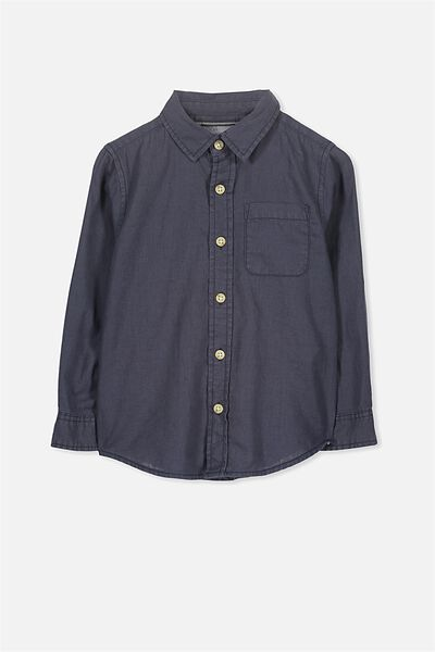 Noah Long Sleeve Shirt, NAVY LINEN BLEND