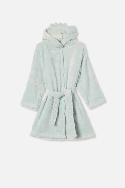 Boys Hooded Long Sleeve Gown, DINOSAUR FROSTY BLUE