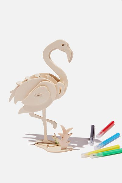 Wooden 3D Puzzle And Markers, FLAMINGO