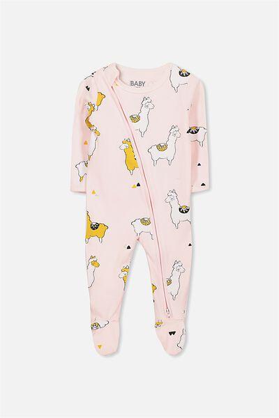 Sleep Mini Zip All In One Jumpsuit, BUBBLEGUM PINK/FOLK ALPACA