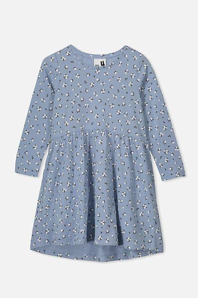 Freya Long Sleeve Dress, DUSTY BLUE/DITSY FLORAL