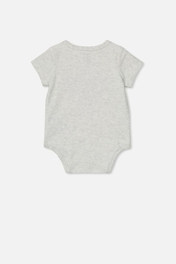 The Short Sleeve Bubbysuit, GREY MARLE/PAPA LOVE