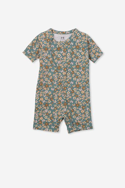 The Snug Short Sleeve Romper, DEEP POOL BLUE/CHLOE FLORAL