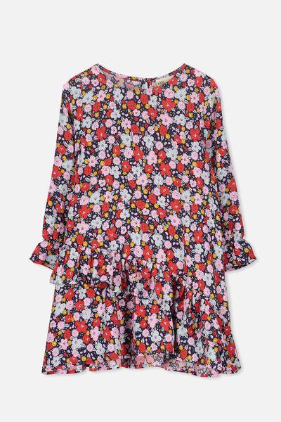 Hannah Long Sleeve Dress, PEACOAT/DITSY FLORAL