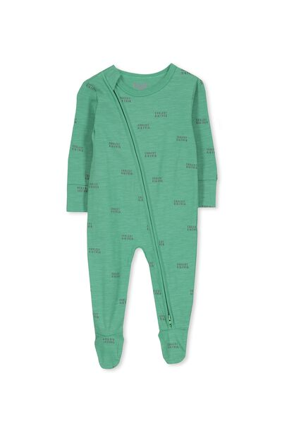 Sleep Mini Zip All In One Jumpsuit, WASHED GREEN/COOLEST KID EVER