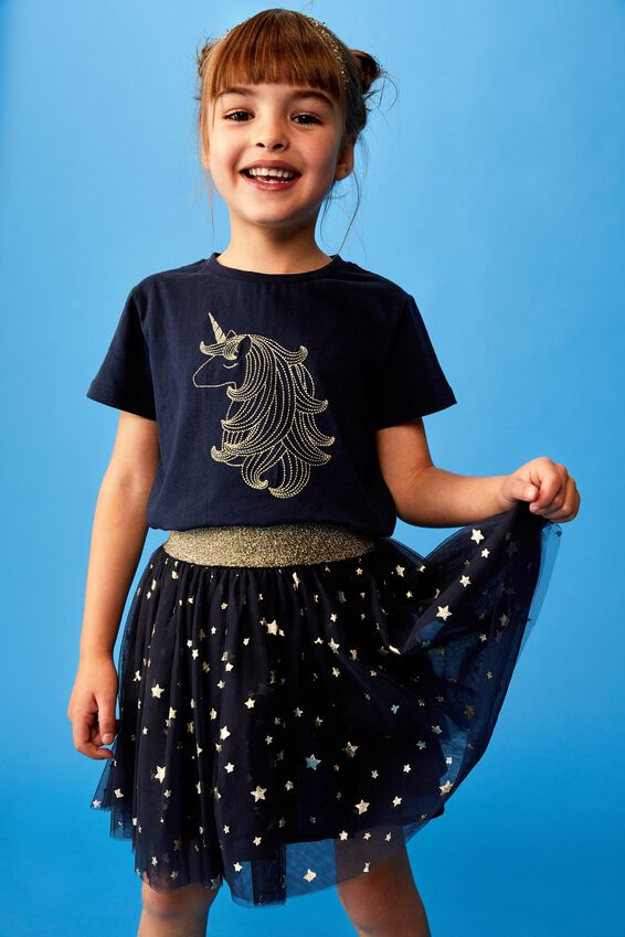 Stevie Ss Embellished Tee, INDIAN INK/GOLD UNICORN HAIR/MAX