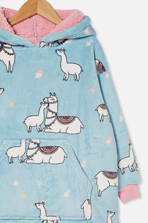 Snugget Kids Oversized Hoodie, I LLAMA YOU TEAL STORM