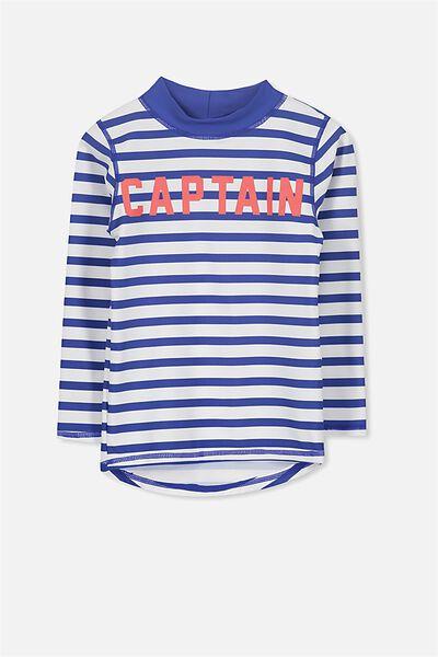 Fraser Long Sleeve Rash Vest, VANILLA/SCUBA BLUE/CAPTAIN