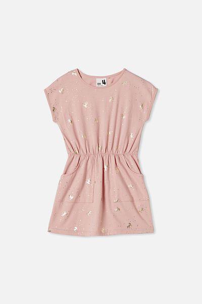Sigrid Short Sleeve Dress, ZEPHYR/UNICORN SPARKLE