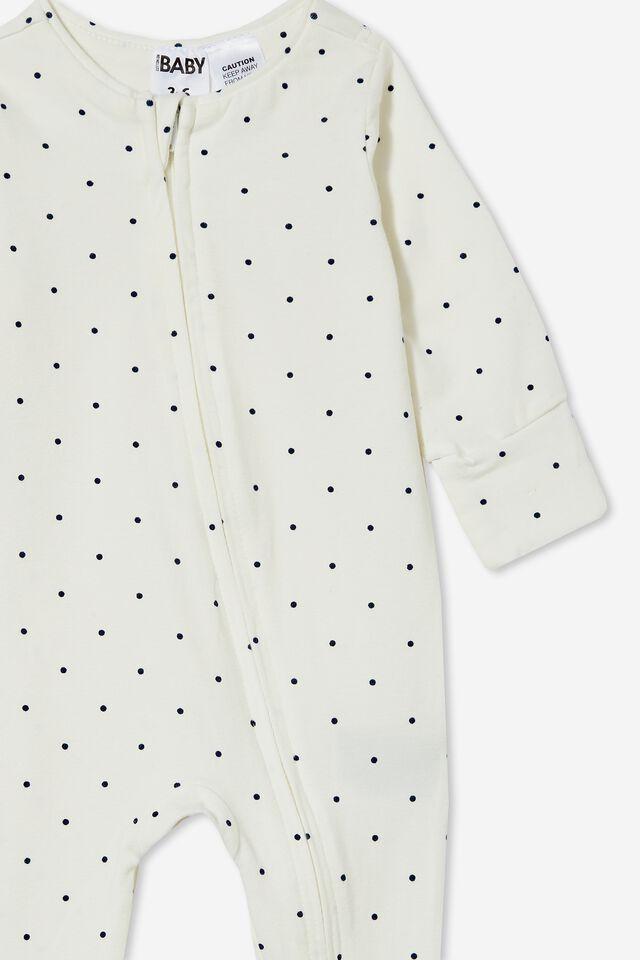 The Long Sleeve Zip Romper, VANILLA/INDIGO BETTY SPOT