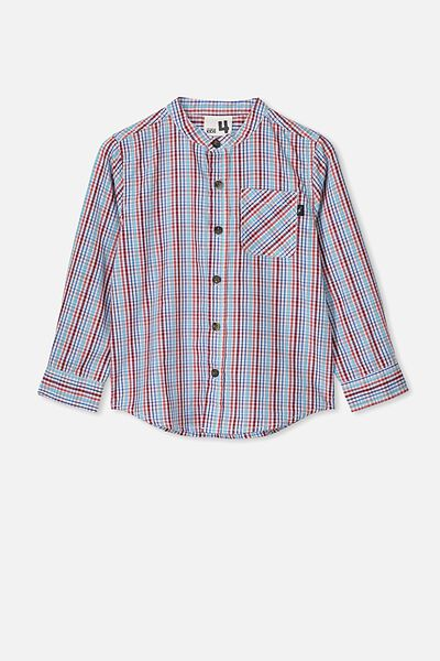 Grandpa Collar Prep Shirt, RED/BLUE MINI CHECK