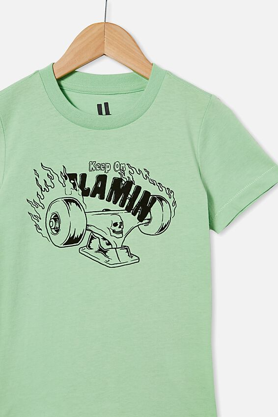 Max Short Sleeve Tee, SPEARMINT / FLAMIN SKATE