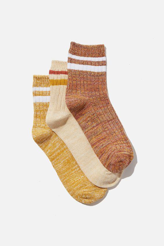 Kids 3Pk Crew Socks, NATURAL TWISTED YARN