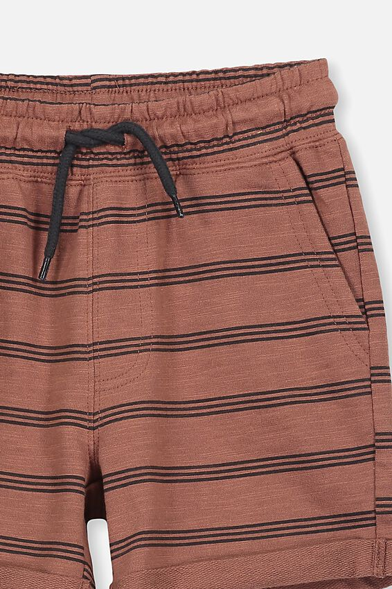 Henry Slouch Short, STRIPE/RUSTY BROWN