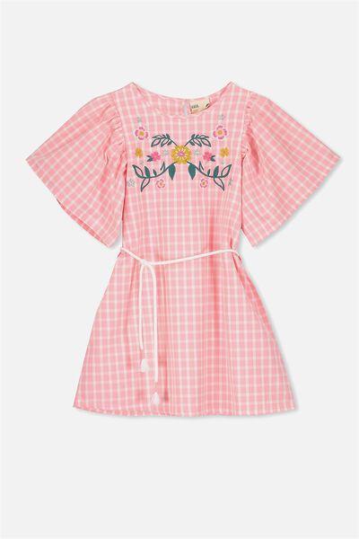 Livvy Dress, FLAMINGO PINK GINGHAM/EMB