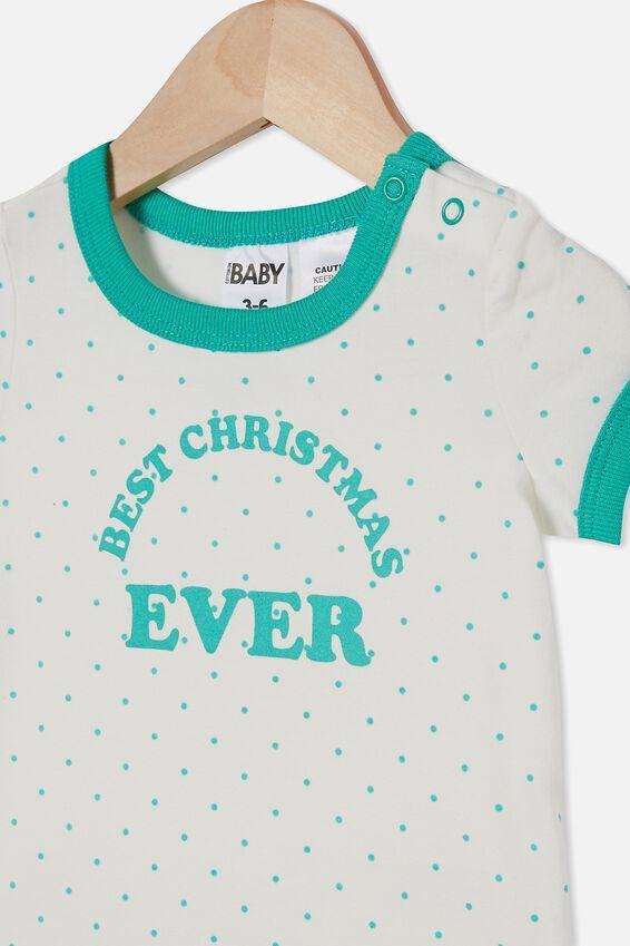 The Short Sleeve Ringer Bubbysuit, JOY SPOT VANILLA/APPLE CRISP BEST CHRISTMAS