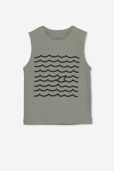 Otis Muscle Tank, GREY KAHKI/SHARK FIN