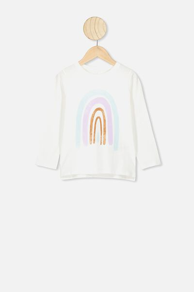 Penelope Long Sleeve Tee, VANILLA/WATERCOLOUR RAINBOW