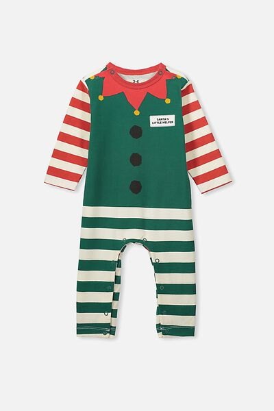 The Long Sleeve Snap Romper, RED/GREEN XMAS ELF