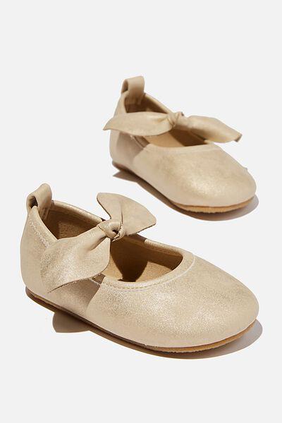 Mini Bow Ballet Flat, MATTE GOLD SHIMMER