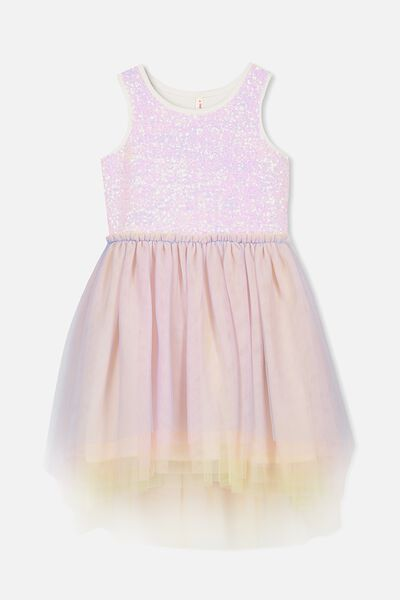 Iris Tulle Dress, PASTEL RAINBOW/HI-LOW