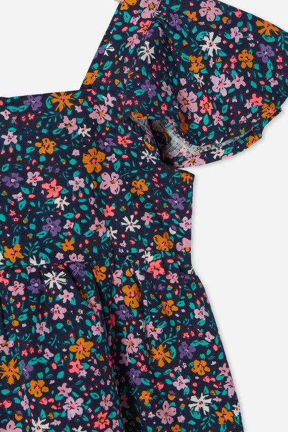 Cady Short Sleeve Dress, INDIGO/SPRINKLED DITSY