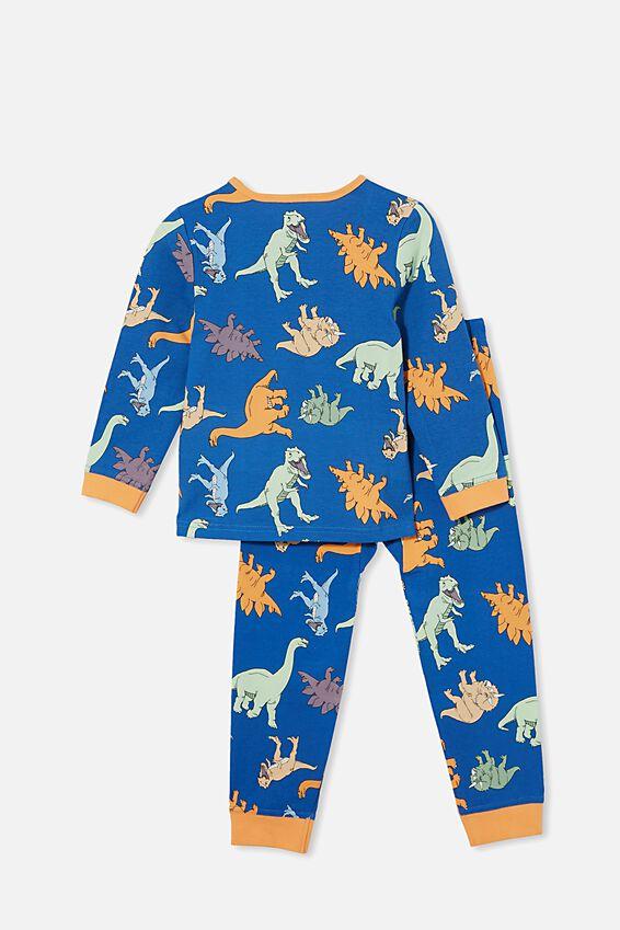 Orlando Long Sleeve Pyjama Set, MULTI DINO/RETRO BLUE