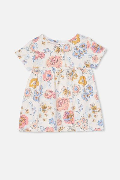 Milly Short Sleeve Dress, CRYSTAL PINK/MATILDA FLORAL