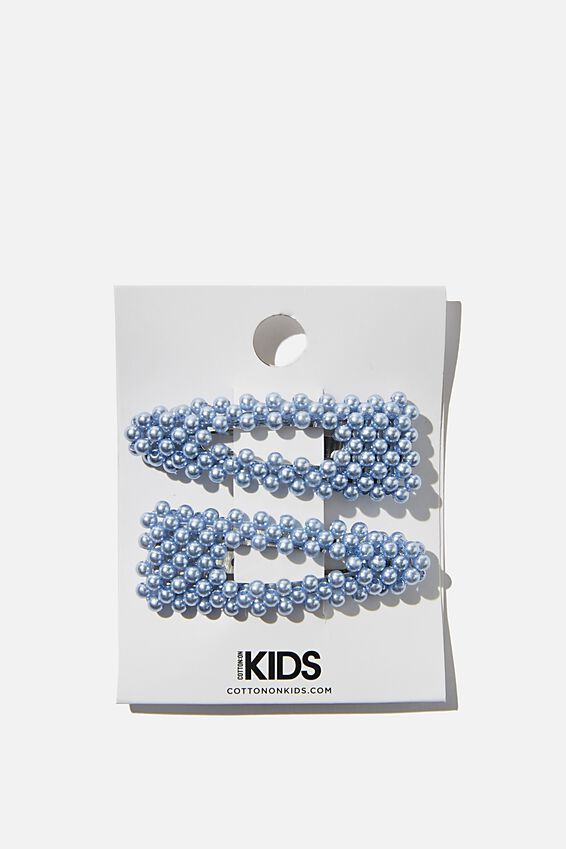 Hair Clips, S BLUE PEARLY SNAP