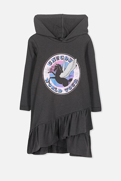 Violet Long Sleeve Hood Dress, PHANTOM/UNICORN WORLD TOUR