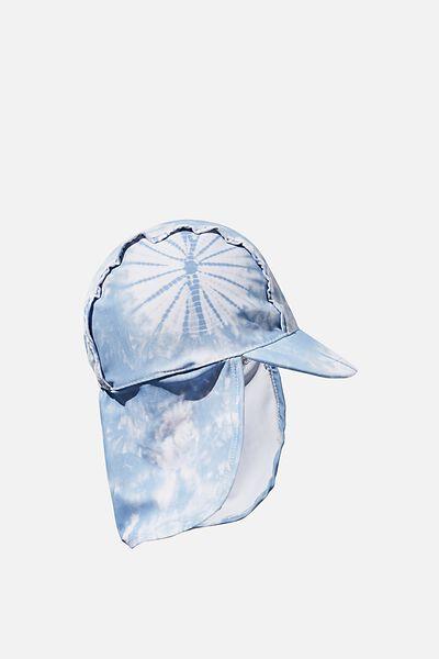 Newborn Sonny Swim Hat, DUSTY BLUE/TIE DYE