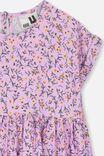 Malia Short Sleeve Dress, SWEET LILAC DITSY