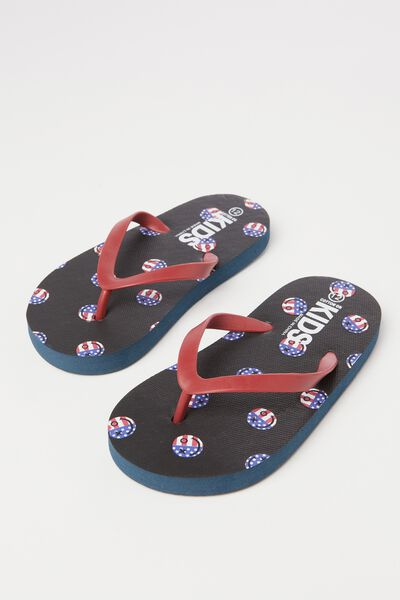 Printed Flip Flop, SMILEY FACE FLAGS