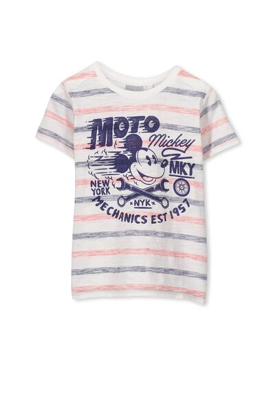 Boys Mickey Short Sleeve Tee, STRIPE/MOTO MICKEY