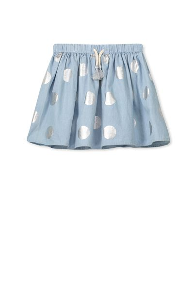 Elise Skirt, BLEACH WASH CHAMBRAY/FOIL SPOT