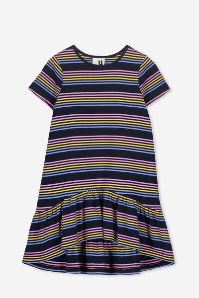 Joss Short Sleeve Dress, PEACOAT/MULTI STRIPE