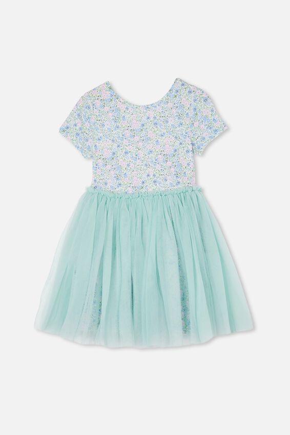 Ivy Dress Up Dress, DUCK EGG/VINTAGE FLORAL